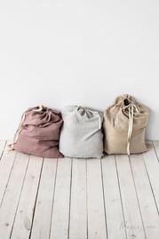 Stone Washed Linen Laundry Bag