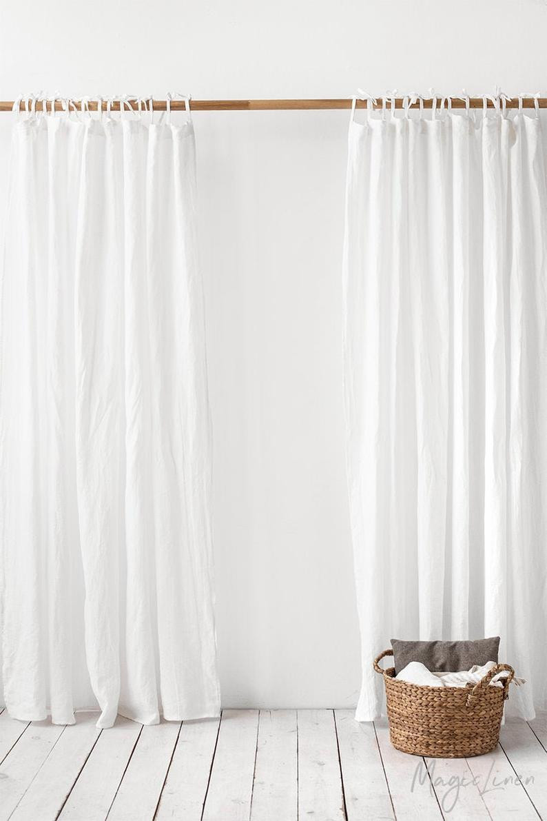 eco-friendly stonewashed linen curtain handmade