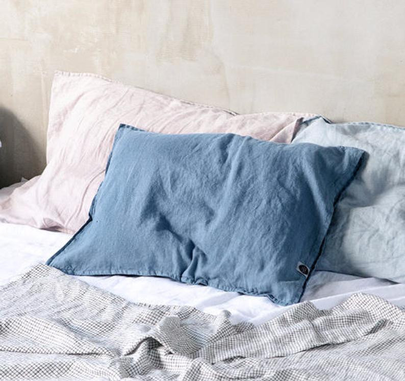 Eco Friendly relaxed linen pillowcases  by Not Perfect Linen. Click on the image to shop directly from the maker