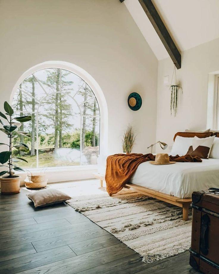 arched windows in bedroom design