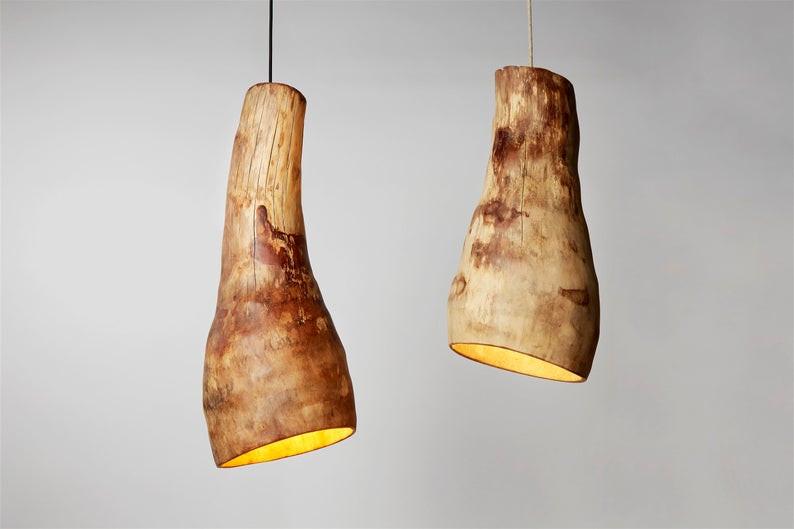 Eco friendly rustic wooden chandelier handmade