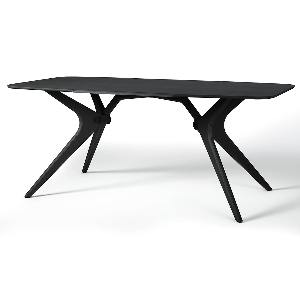 Sustainably made modern wooden black dining table.