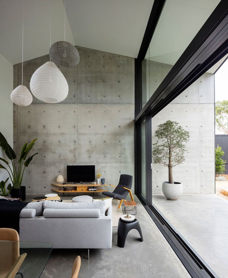 concrete living room design
