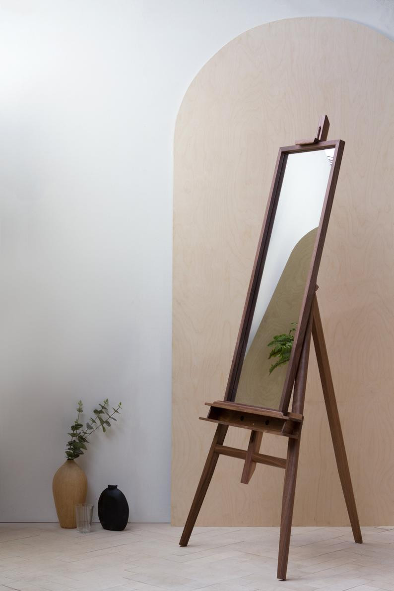 handmade full length walnut mirror by KONK. Click on the image to shop directly from the  maker.