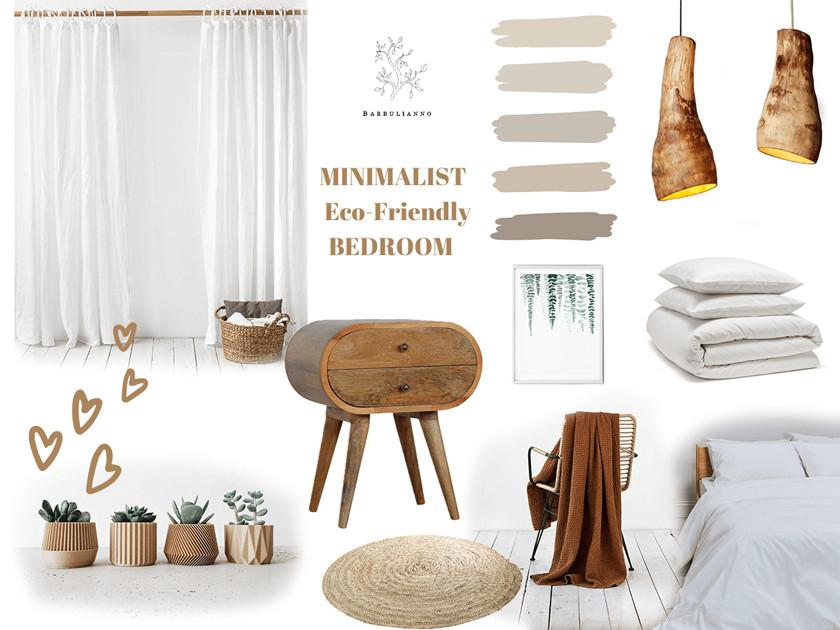 Eco-friendly minimalist bedroom inspirational mood board design Barbulianno