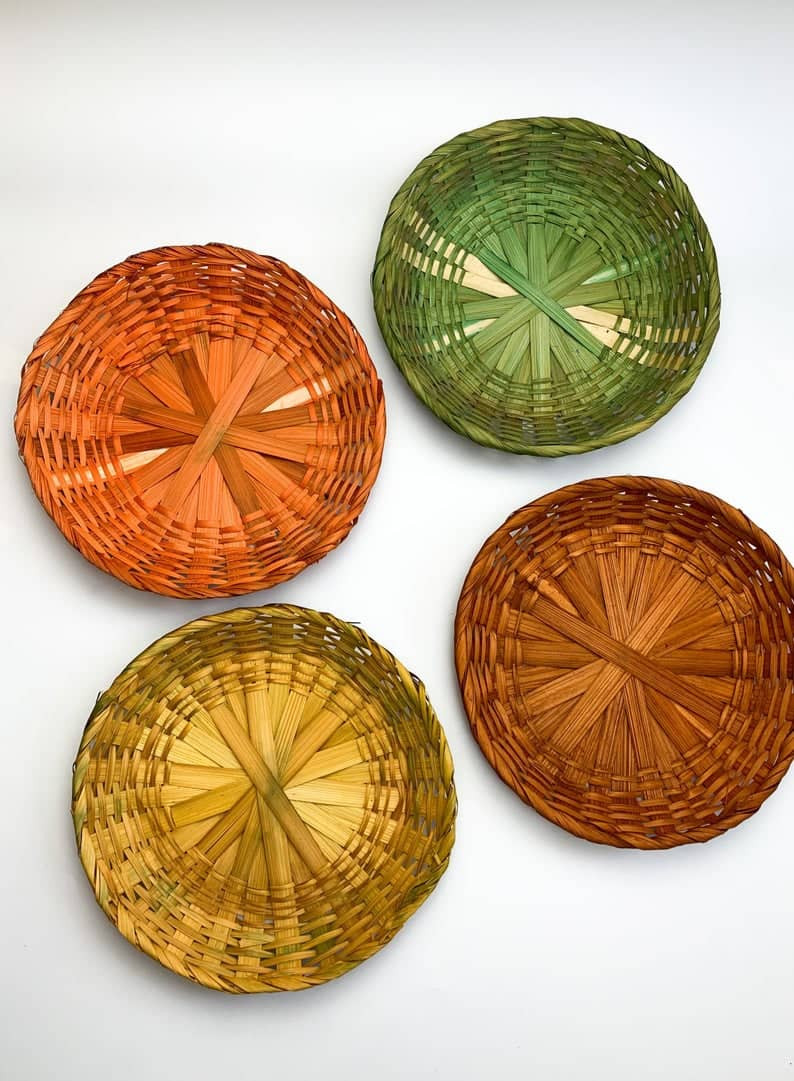 Set of Four Fall Autumn Vintage Wicker Wall Baskets