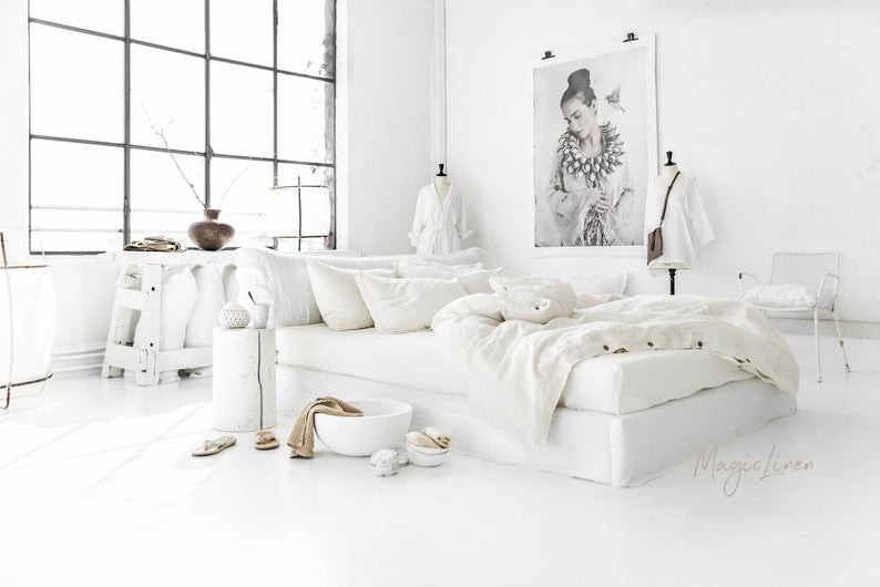 pure white handmade Eco Friendly linen, click on the image to shop directly from the maker