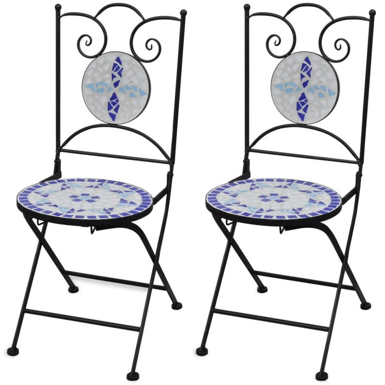 white and blue mosaic bistro chairs