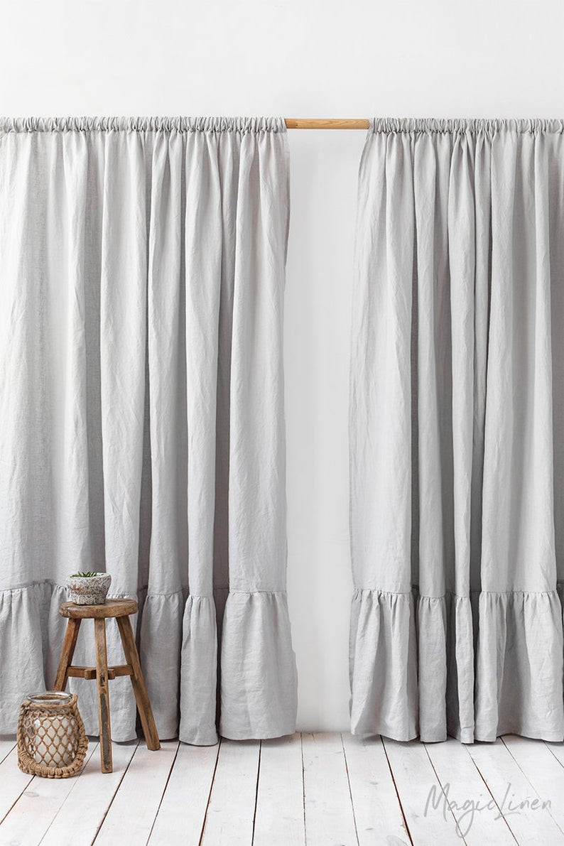 stone washed linen curtains in pink colour