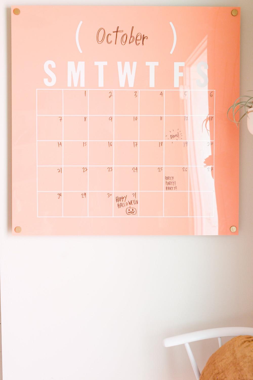DIY wall calendar coral colour