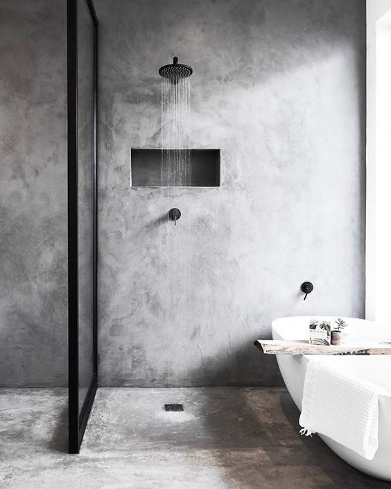 Cement style bathroom design