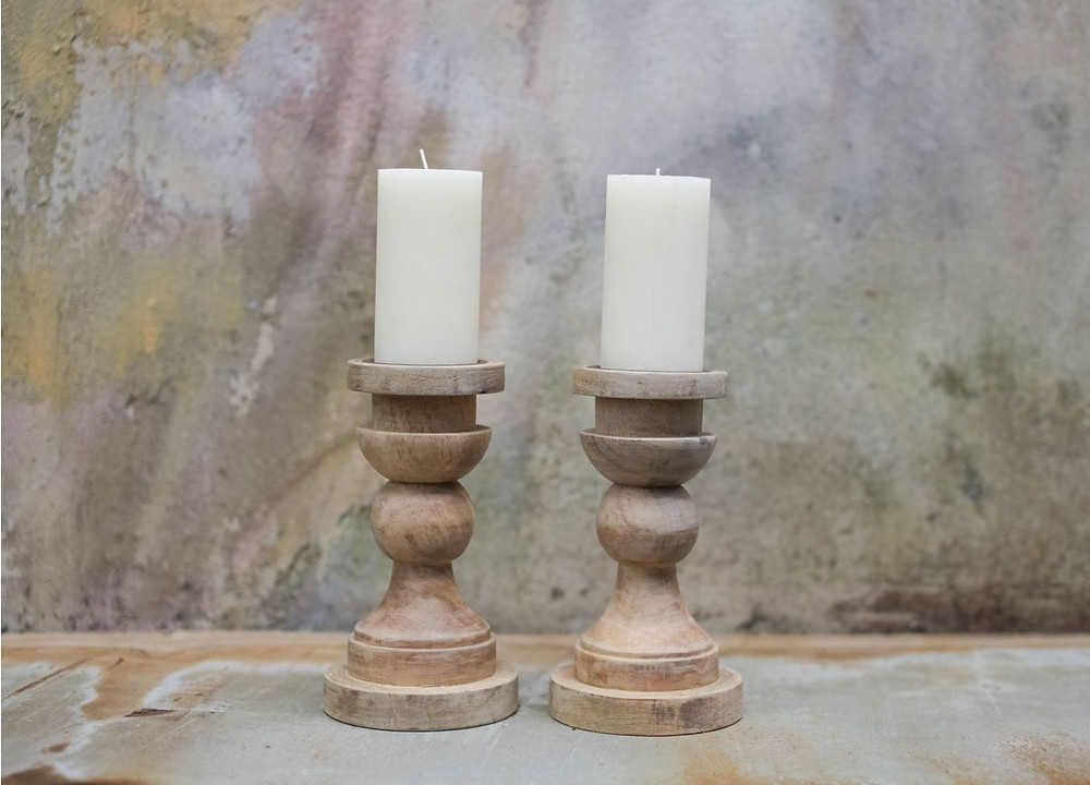 mango wood handmade candle stick holder