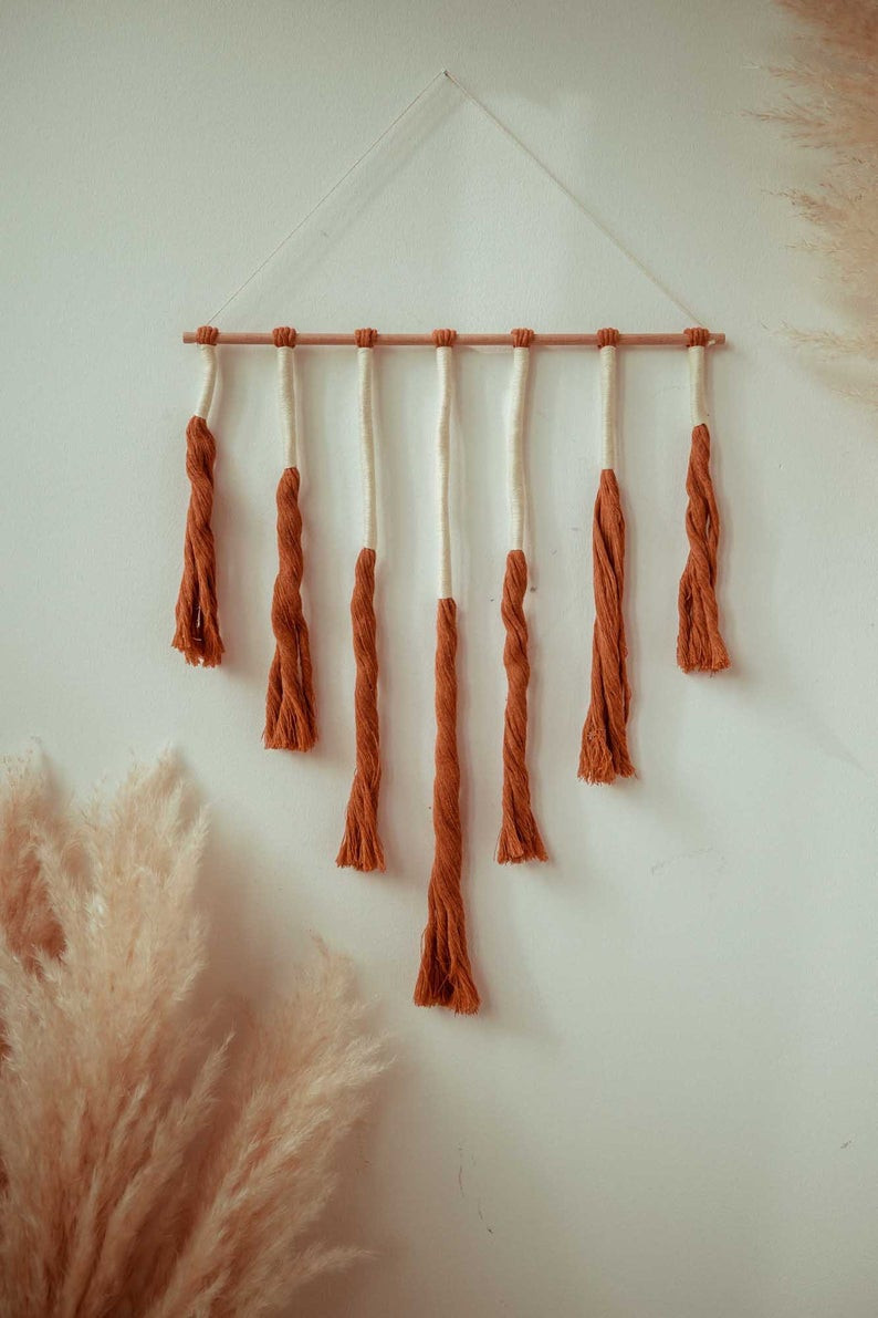Ana Johnson x Etsy, Macrame Wall Hanging Rust/Vanilla