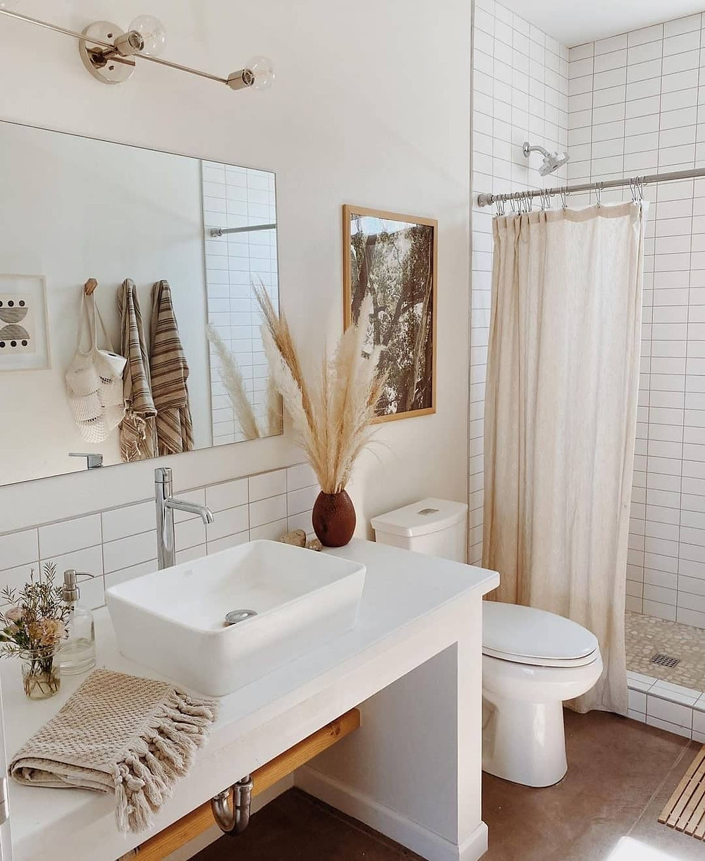 linen shower curtain for spa vibes in bathroom