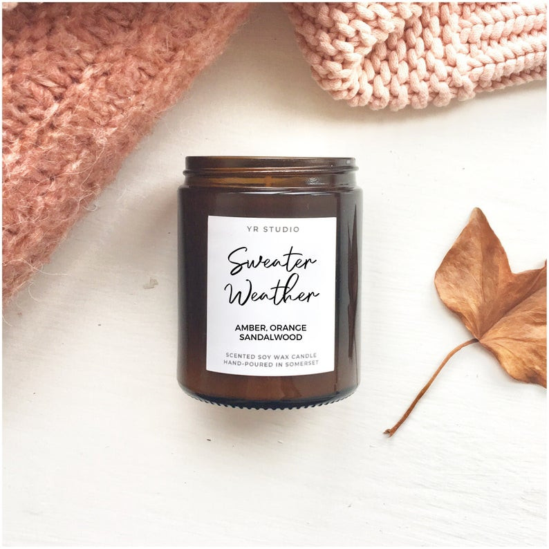 Sweater Weather candle, Cosy Autumn candle