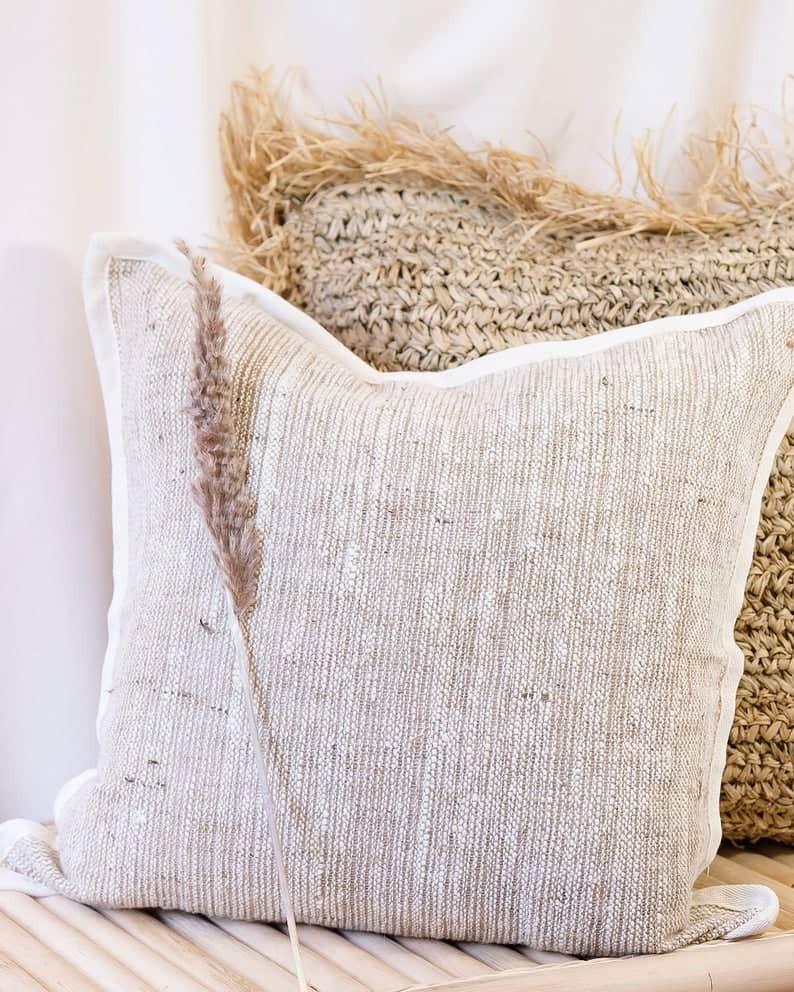 Autumn Decor - Handmade Cotton and Burlap woven Cushion Cover Linen Cushion Cover