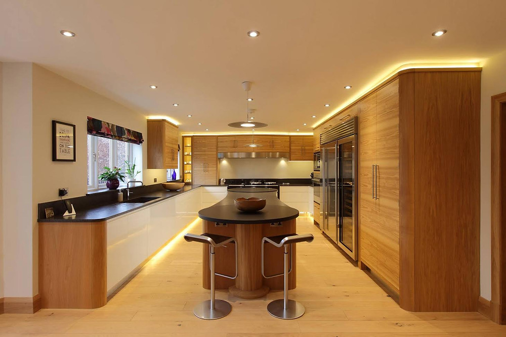 Kitchen design with led lighting.