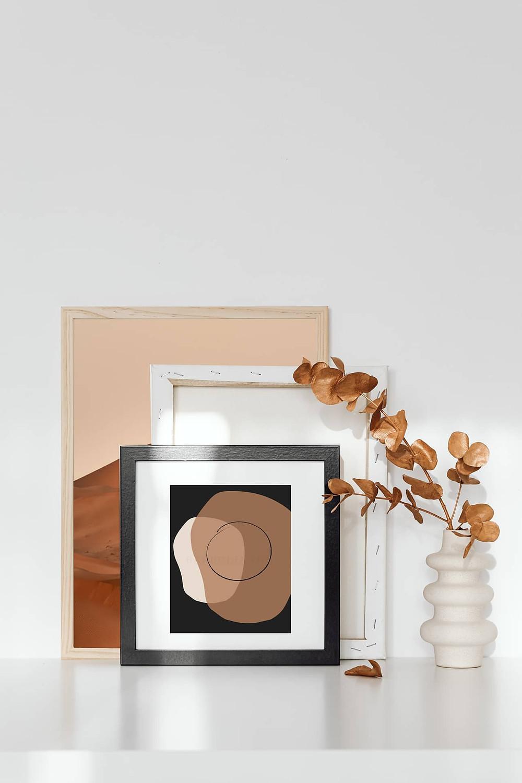Japandi Art Print, minimalist abstract shapes.