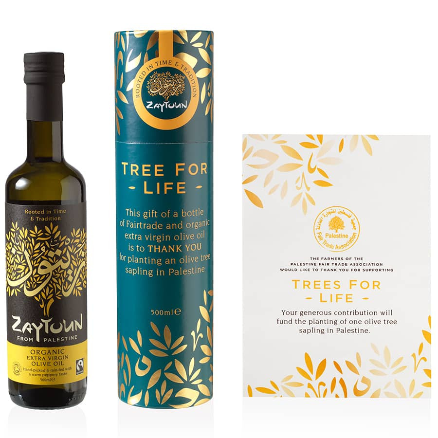 ZAYTOUN OLIVE OIL & TREE DONATION GIFT SET, perfect Eco Friendly Gift.