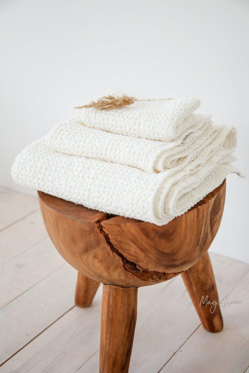 Spa waffle linen towels