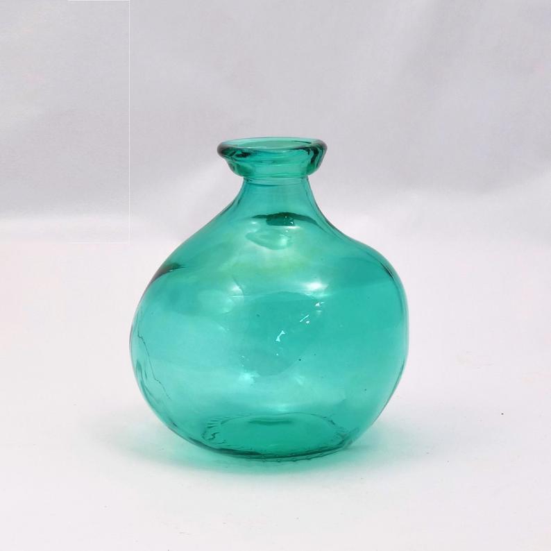 aqua blue recycled glass vase