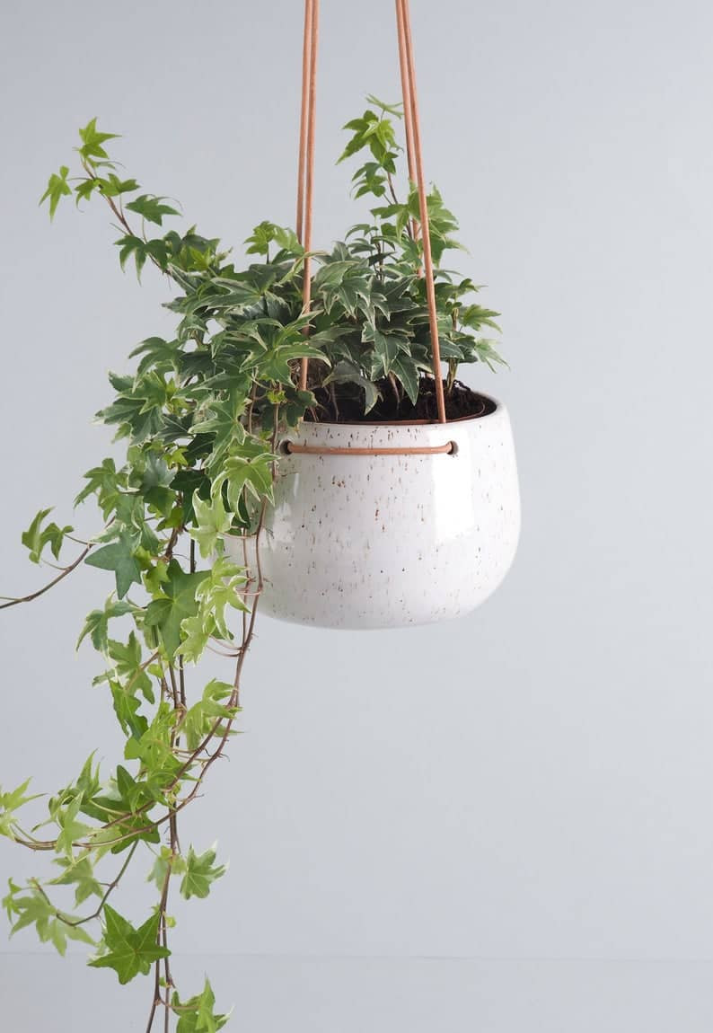 Speckled white hanging planter with English Ivy. Click on the image to shop the pot from Etsy maker.