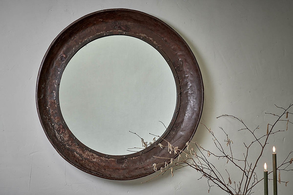 Reclaimed Iron Tray Mirror, vintage. Click on the image to shop directly from the maker.