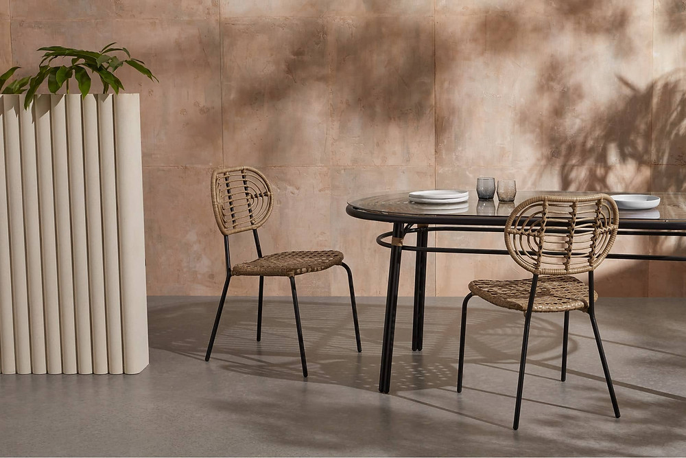 Natural Poly rattan outdoor dining chairs with black legs