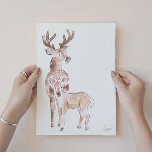 Deer Watercolour Print - Woodland