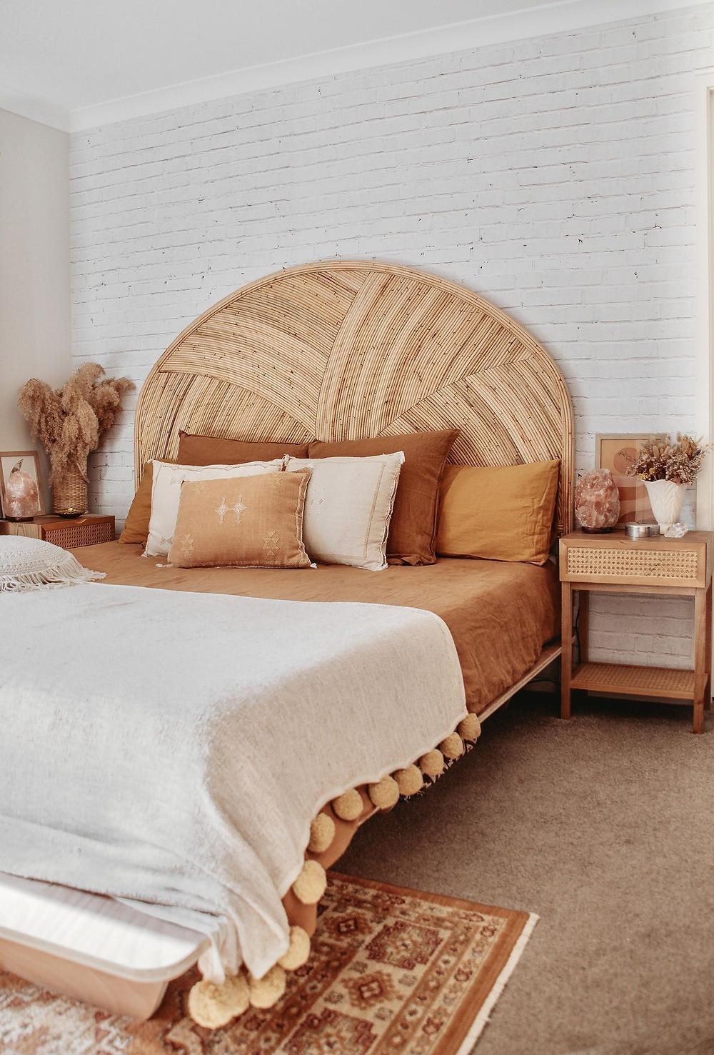 Rattan head board, natural bed.