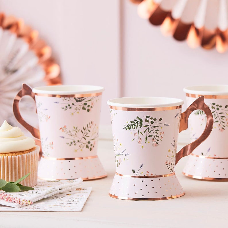 Autumn Rose Gold Floral Tea Party Cups