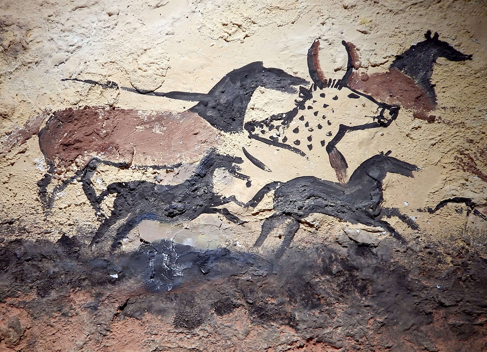 Life-size replica from Lascaux, France. A panel from the world-famous cave gallery painted 17,000 years ago
