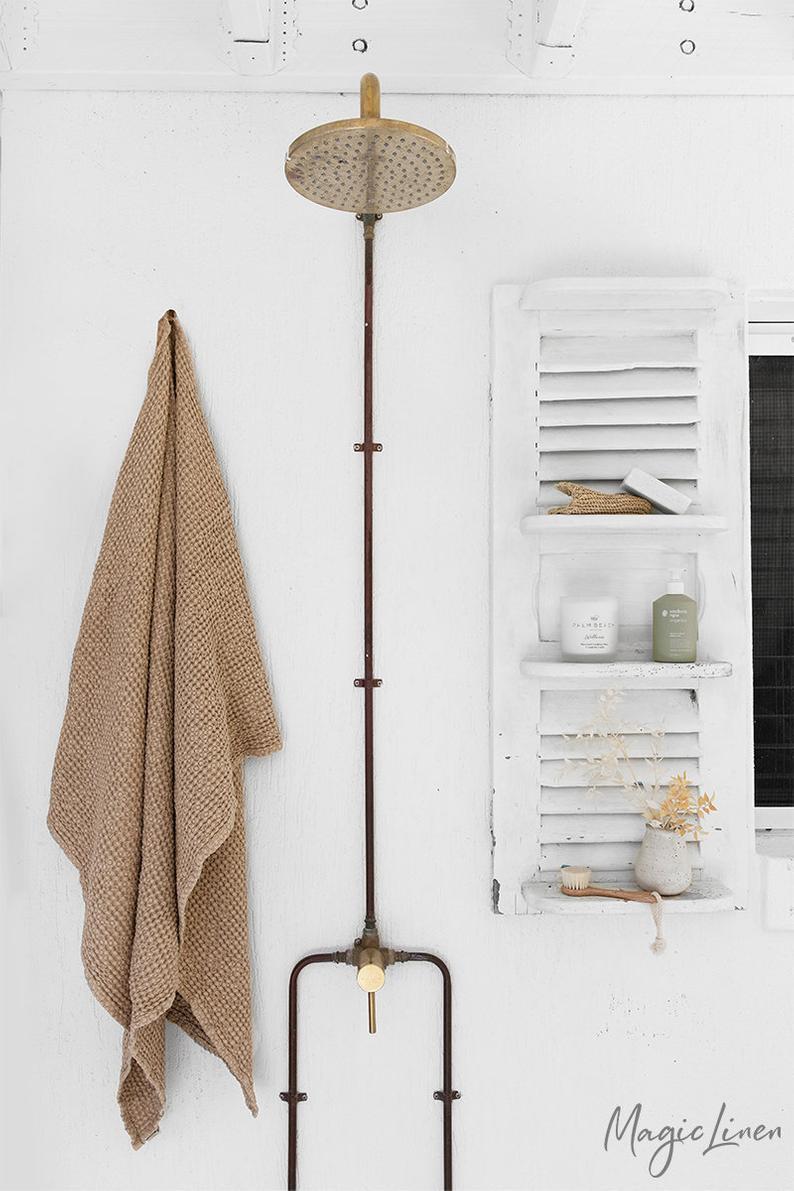 Zen bathroom accessories, waffle towels