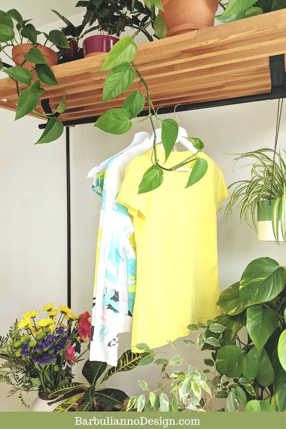 Sustainable wardrobe decorated with plants and fresh flowers