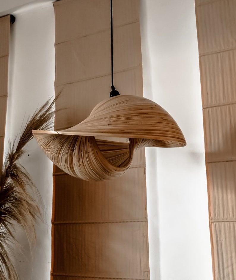 Japandi style hanging pendant light.