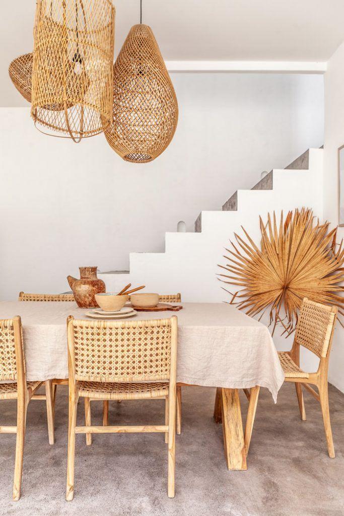 Rattan furniture in dining room
