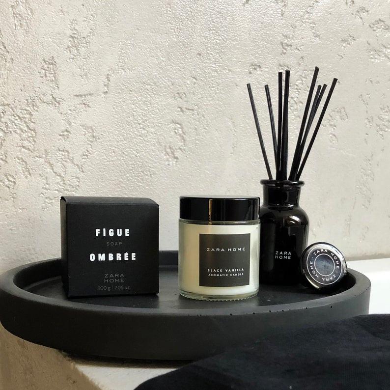 Spa decorative item - black concrete tray