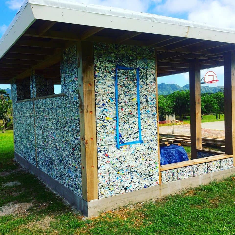 House built out of recycled plastic block