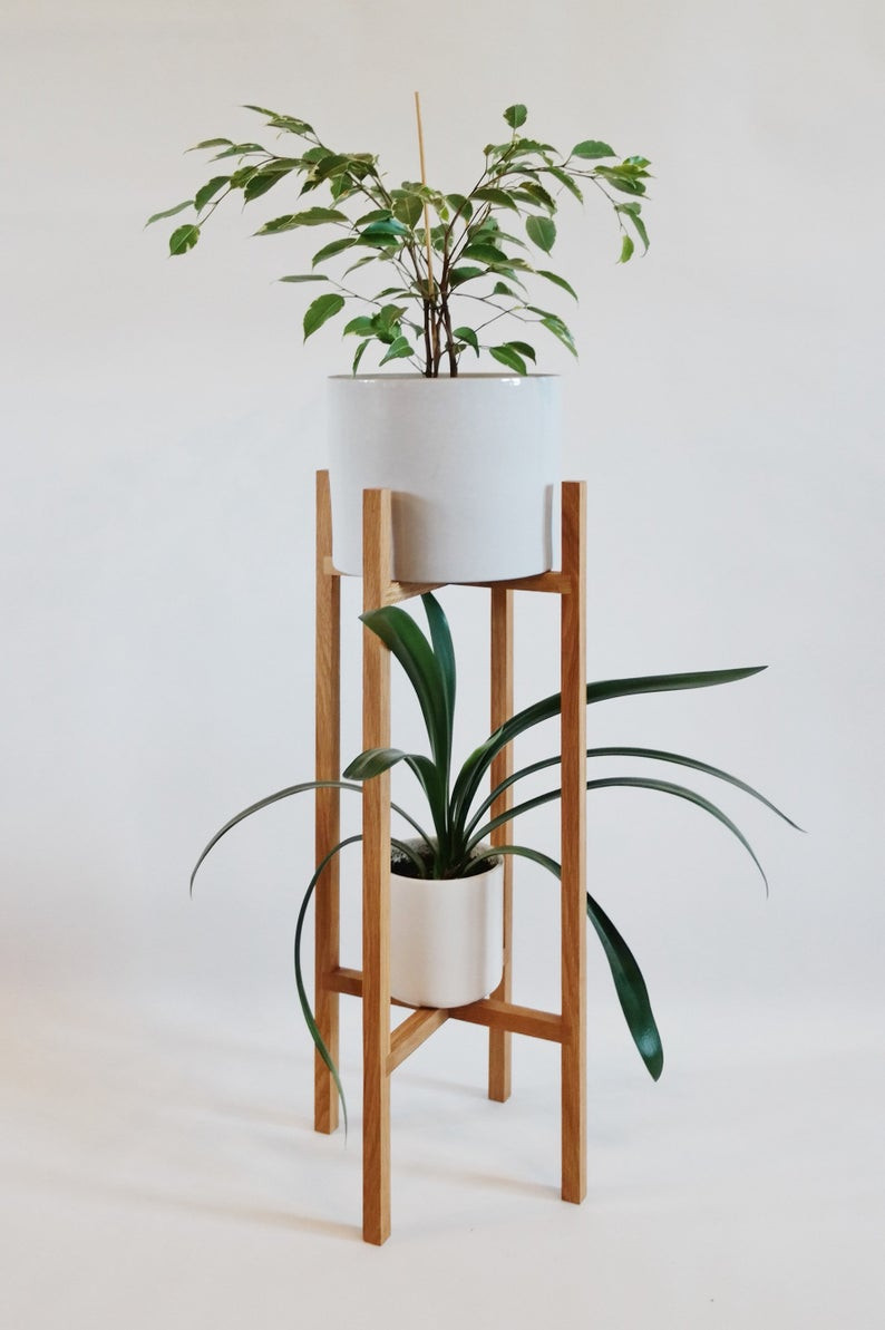 Handmade oak plant stand