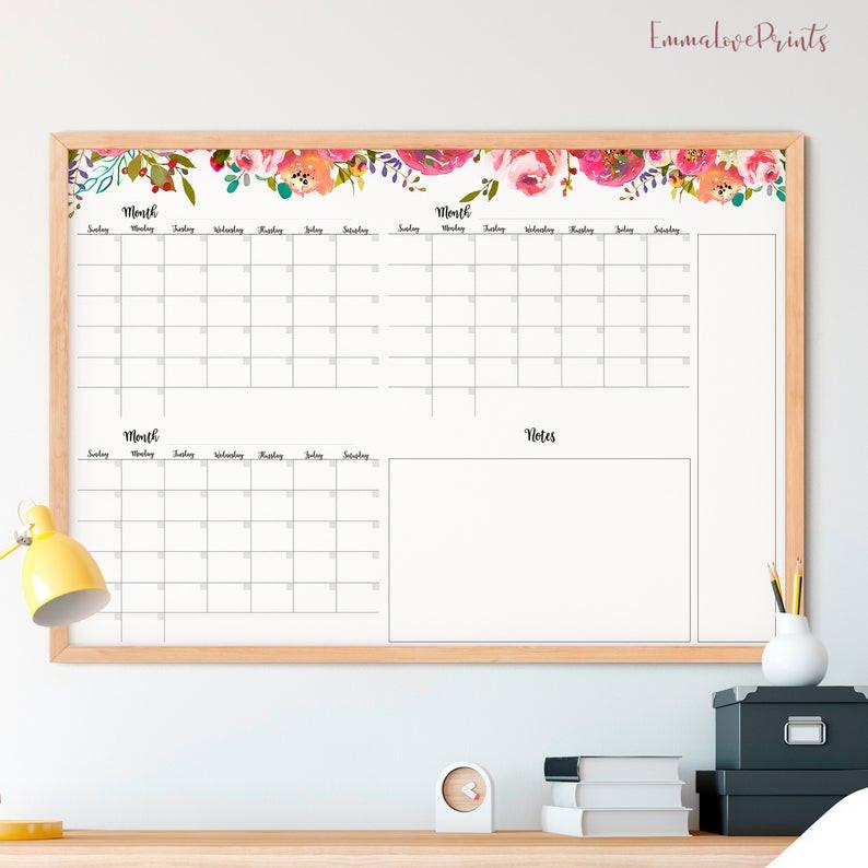 floral wall calendar diy