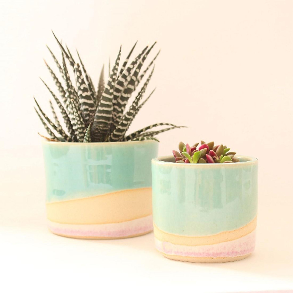 Colourful handmade ceramic planters by artist Nicky Edmunds.