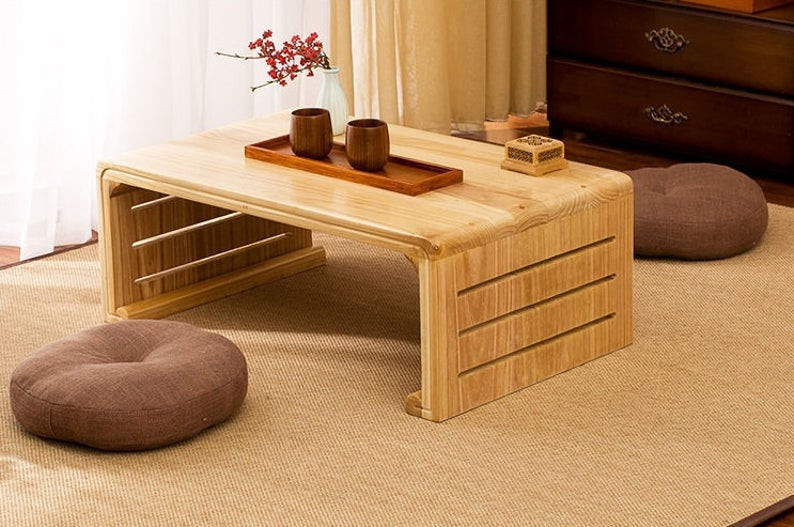 Sustainable solid oak coffee table perfect piece of furniture for Japandi style. Clisk on the image to shop directly from the maker - KONK, on Etsy.