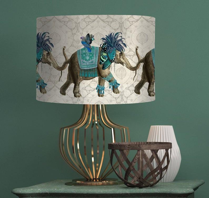 Bohemian lampshade indian elephant print