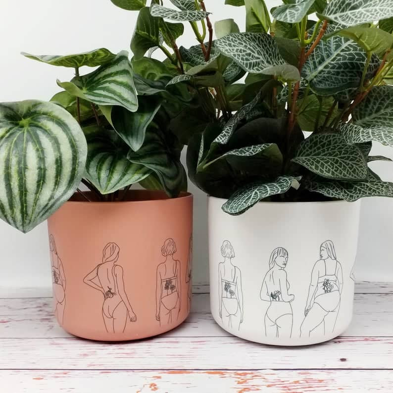 Eco friendly indoor Planters with female figure drawing, in peach/tan colour and white colour. Click on the image to shop the post on Etsy.
