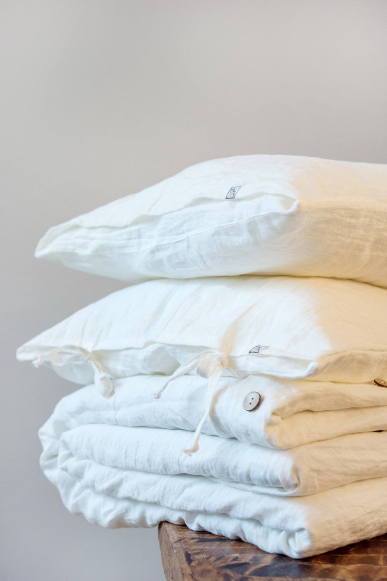 Eco Friendly stonewashed white linen bedding bundle. Click on the image to shop directly from the maker - N Linen Shop