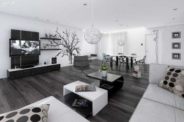 Salon chic noir et blanc