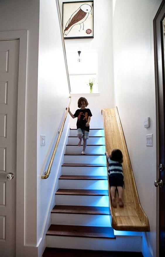 Escalier bois tobogan