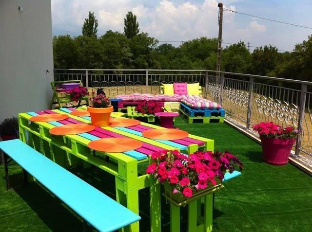 Table colorées + banc