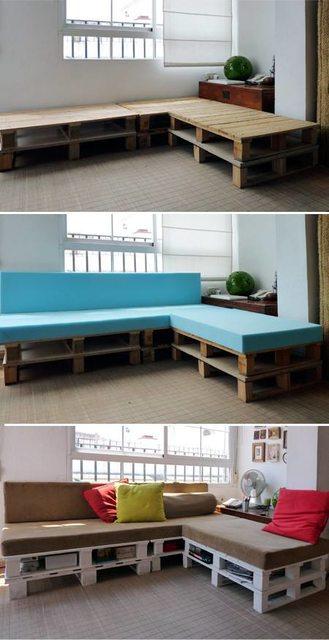 Canapé d'angle en étapes