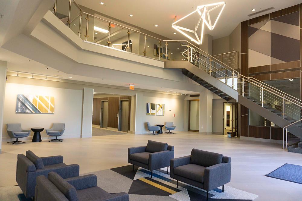 Geometric Art, Geometric Interiors, Geometric Lighting, Glass Stairwell